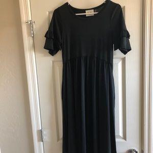 Midi black ruffle sleeve a-line dress